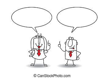 discussion - A businessman and a businesswoman are talking ...