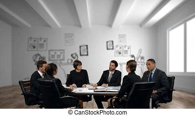 discussion affaires, gens, bureau