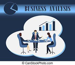 discussion, analytics, vecteur, affaires illustration, analyse