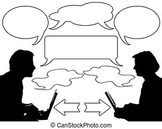 discussion and communicate - two people discussion with some...