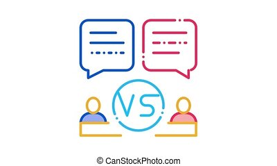 Discussion Battle Icon Animation. color Discussion Battle animated icon on white background