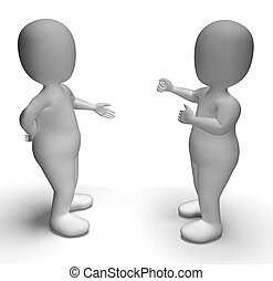 Discussion Between Two 3d Characters Showing Communication