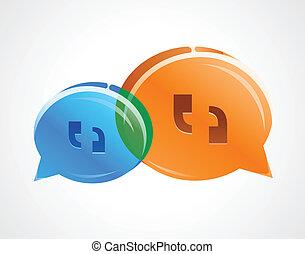 discussion, bulles, parler