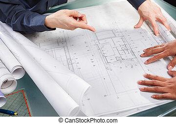 discussion, conception, sur,  architecture