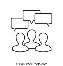 discussion, contour, icône