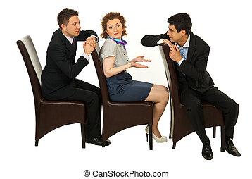 discussion, femme, confondu, hommes, entre