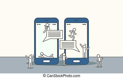 discussion., gens équipent, dialogue, réunion, femme, message, collaboration, vecteur, connexion, concept, social, communication, parler, ami, illustration, réseau, parole, group., chat., humain, téléphone., bavarder, business