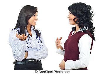 discussion, heureux, avoir, femmes affaires
