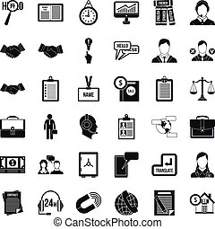 Discussion icons set, simple style