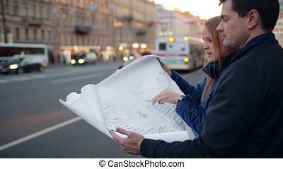 Discussion of architectural plan outdoor