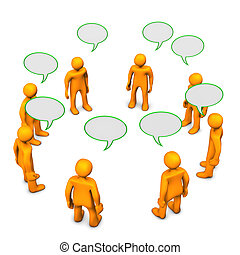 Orange cartoon characters during discussion. White background.
