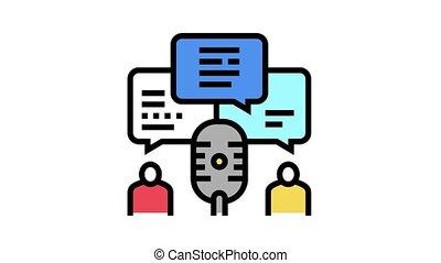 discussion radio channel animated color icon. discussion radio channel sign. isolated on white background
