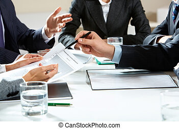 Discussion - Image of human hands during business discussion