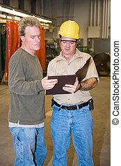 discussion, sur, usine, plancher