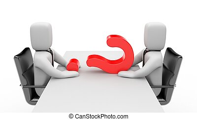 Discussion - Two people dressed as businessmen sitting at...