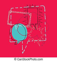 discussione, /, brainstorm, discorso, chiacchierata, bolle, ...