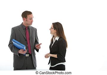 discussione, colleghi, affari, due