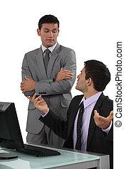 discussione, uomini affari, detenere, due