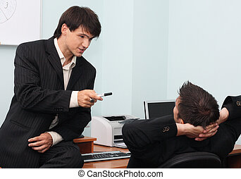 discussione, uomini affari, detenere, due, giovane