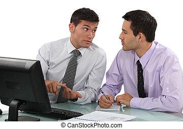 discussione, uomini affari, detenere