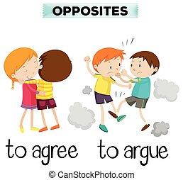 discuta, concorde, palavras, oposta