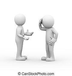 discuter, 3d, frustré, combat, gens