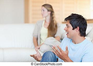 discuter, couple, jeune