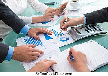 discuter, financier, document