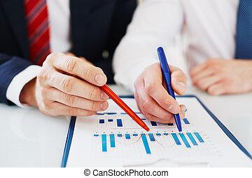 discuter, financier, données