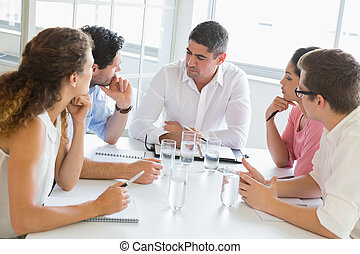 discuter, gens, table, business