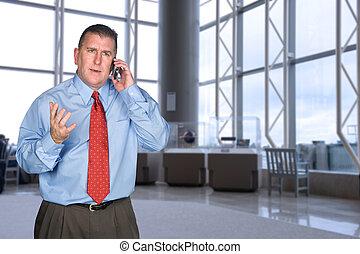 discuter, homme affaires, téléphone