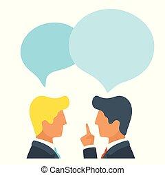 discuter, news., ou, bavarder