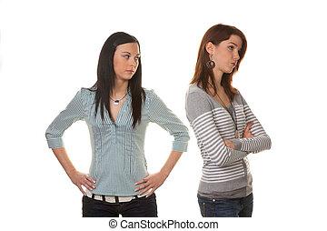 discuter, offensé, fâché, quand, femmes