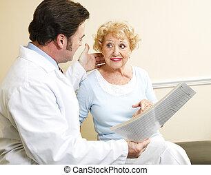 discuter, patient, traitement, options