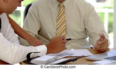 discuter, plans, equipe affaires