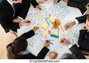 discuter, réunion, businesspeople
