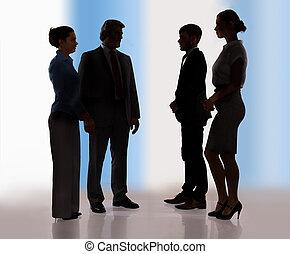 discutir, businesspeople, junto