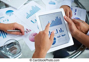 discutir, documento, financiero