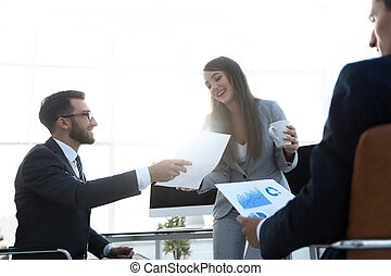 discutir, documents., financeiro, equipe negócio