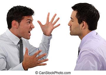 discutir, homens negócios