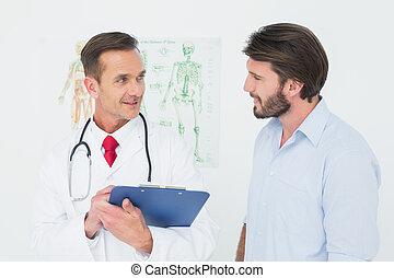 discutir, macho, paciente, relatórios, doutor