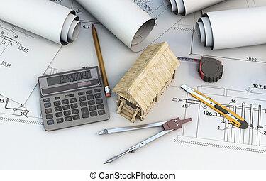 diseñador, calculadora, casa de madera, herramientas, proyectos