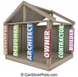 diseñador, casa, constructor, arquitecto, vigas, hogar, marco, revelador