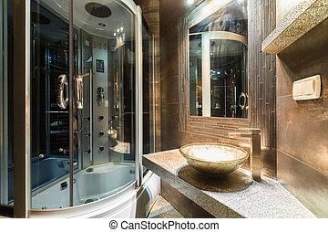 diseñador, cuarto de baño, en, contemporáneo, casa