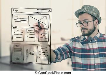diseñador de la tela, dibujo, sitio web, desarrollo, wireframe, en, oficina