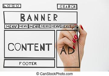 diseñador, dibujo, sitio web, desarrollo, alambre, frame., estructura, de, tela, page., diseño telaraña