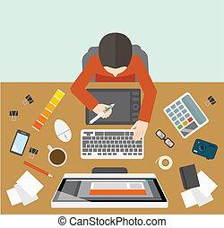 diseñador, dirección, lugar de trabajo