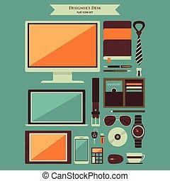 diseñador, escritorio, artículos, plano, iconos