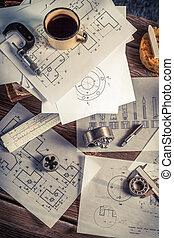 diseñador, escritorio, de, mecánico, partes