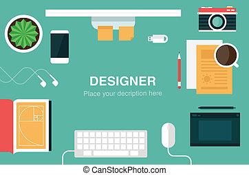 diseñador, escritorio, encabezamiento